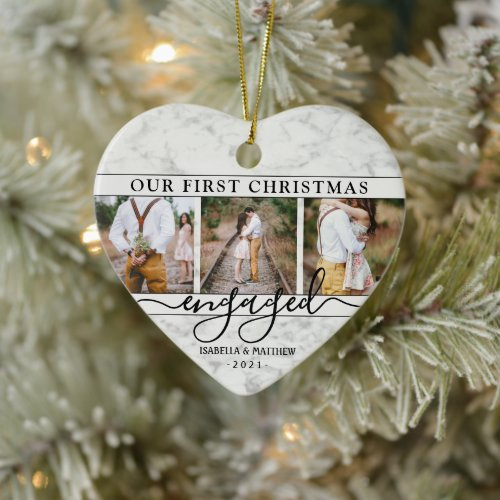 4 Photo First Christmas Engaged Faux Marble Heart Ceramic Ornament