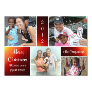 4 Photo Gradient Reds Christmas Card
