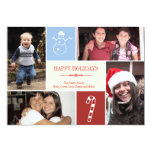 4 photo grid collage snowman candy cane Christmas Card