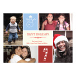 4 photo grid collage snowman candy cane Christmas Invitations