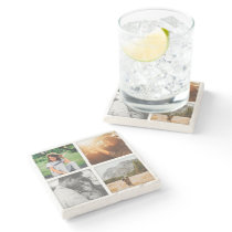 4 Photo Grid Square Template Shadowed Marble Stone Coaster