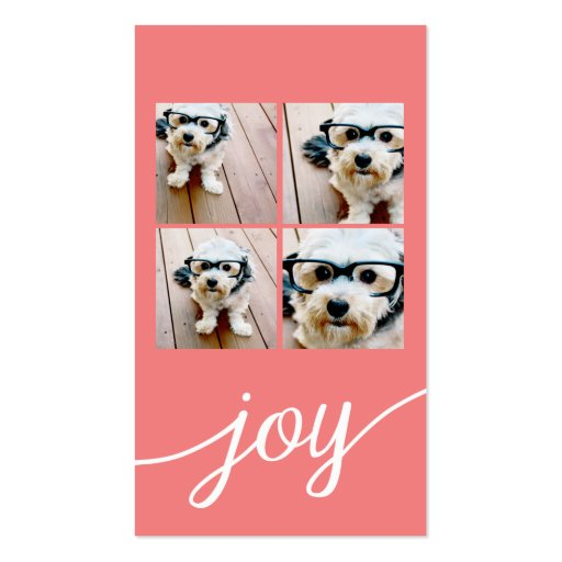 4 Photo Instagram Collage with Holiday Joy Coral Business Card Template