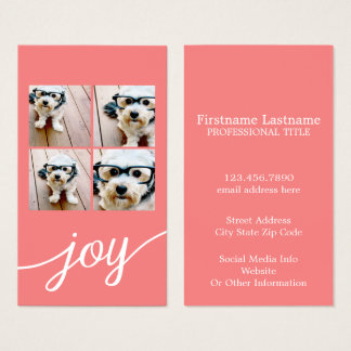 4 Photo Instagram Collage with Holiday Joy Coral Business Card