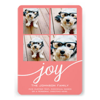 4 Photo Instagram Collage with Holiday Joy Coral Invitations