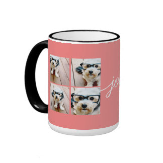 4 Photo Instagram Collage with Holiday Joy Coral Ringer Coffee Mug