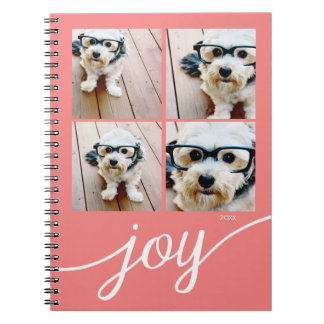 4 Photo Instagram Collage with Holiday Joy Coral Spiral Notebook