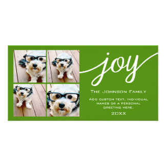 4 Photo Instagram Collage with Holiday Joy Green Card
