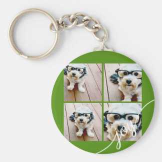 4 Photo Instagram Collage with Holiday Joy Green Keychain