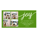 4 Photo Instagram Collage with Holiday Joy Green Photo Card