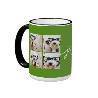 4 Photo Instagram Collage with Holiday Joy Green Ringer Mug