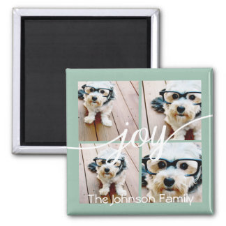 4 Photo Instagram Collage with Holiday Joy Mint 2 Inch Square Magnet