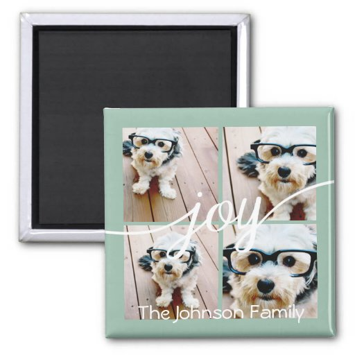 4 Photo Instagram Collage with Holiday Joy Mint Fridge Magnets