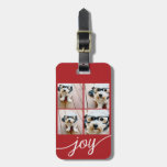 4 Photo Instagram Collage with Holiday Joy Red Travel Bag Tags