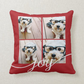 4 Photo Instagram Collage with Holiday Joy Red Throw Pillow