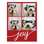 4 Photo Instagram Collage with Holiday Joy Red Postcard
