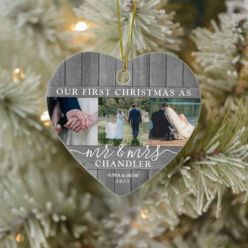 4 Photo Mr & Mrs 1st Christmas Faux Wood Heart Ceramic Ornament