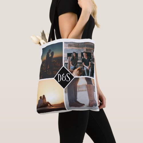 4 Photo Personalized Collage Monogrammed Tote Bag