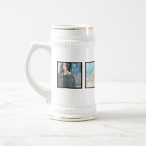 4 Photo Personalized Custom White Stein Mug
