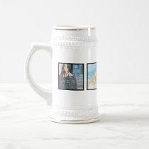 4 Photo Personalized Custom White Stein Mug
