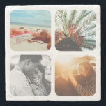 """4 Photo Stone Coaster Template Grid Rounded Framed<br><div class=""""desc"""">Personalized Photo Grid Stone Coaster with Rounded Frames.</div>"""