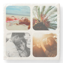 4 Photo Template Grid Rounded Framed Marble Stone Coaster
