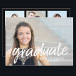 "4 Photo Trendy Graduation Announcement<br><div class=""desc"">Add 2019,  2018 or any year to personalize this elegant and trendy design. This can be used for any graduate - high school,  college,  grad school,  med school or even trade school.</div>"