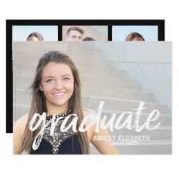 High school graduation party invitations announcements zazzle 4 photo trendy graduation announcement filmwisefo Images