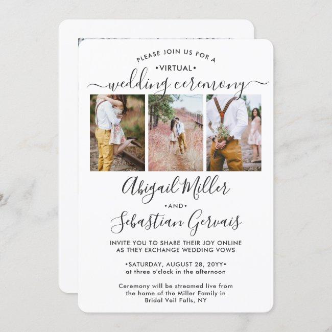 4 Photo Virtual Wedding Livestream Long Distance Invitation
