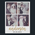 "4 Photo Wedding Collage Handwritten Last Name Faux Canvas Print<br><div class=""desc"">A simple layout with area for four pictures and the bride and groom names plus anniversary date.</div>"