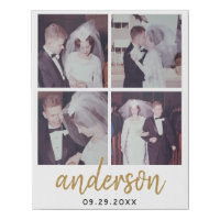 4 Photo Wedding Collage Handwritten Last Name Faux Canvas Print