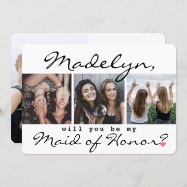 4 Photo Will You Be My Maid of Honor Proposal Invitation