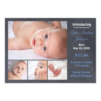 4 Photos Collage Chalkboard - Birth Announcement