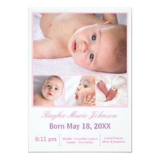 4 Photos Collage White/Pink - Birth Announcement
