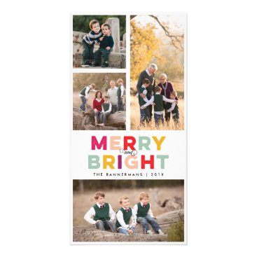 Christmas Themed 4 Photos Merry Bright and Colorful Card