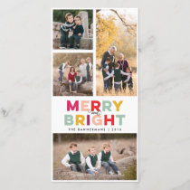 4 Photos Merry Bright and Colorful Holiday Card