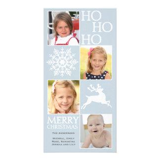 4 Photos Snowflake Reindeer Christmas Photo Greeting Card