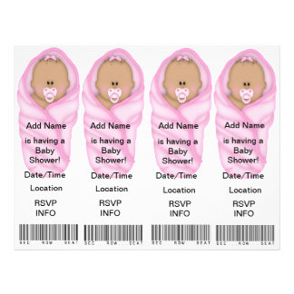 4  Pink Baby Shower Invitations - Bookmark Favors Flyer