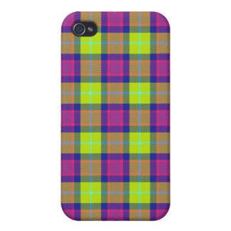 4 * - Plaid Purple / Blue / Lime iPhone 4 Case