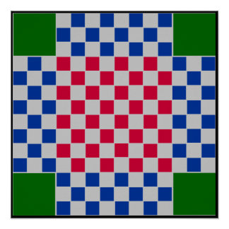 "4 Player - Checkers TAG Board Grid (~1"" Magnets) Poster"