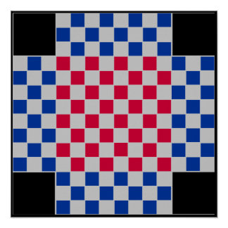 """4 Player - Football Chess TAG Board (~1"""" Magnets) Poster"""