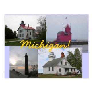 4 postales de los faros del lago Michigan