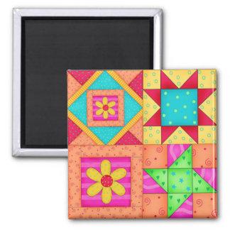 4 Quilt Blocks Square Magnet