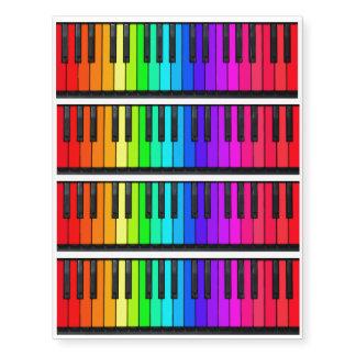4 Rainbow Piano Keyboard Temporary Tattoos