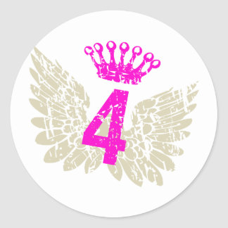 #4 Raspberry Wings Classic Round Sticker