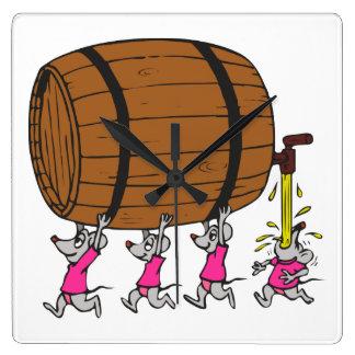 4 ratones borrachos reloj cuadrado