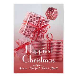4 red patterned wrapped presents 5x7 paper invitation card