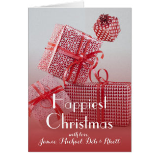 4 red patterned wrapped presents greeting card