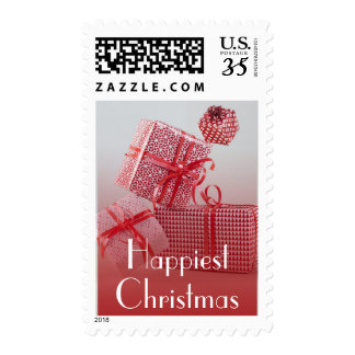4 red patterned wrapped presents postage stamps