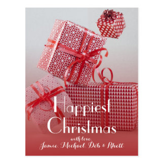 4 red patterned wrapped presents postcard