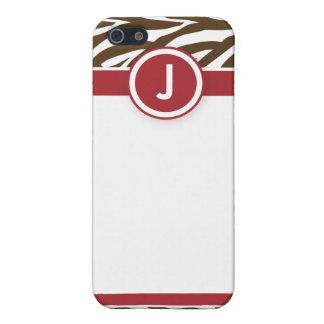 4 rojos/chocolates enrrollados de la cebra iPhone 5 fundas